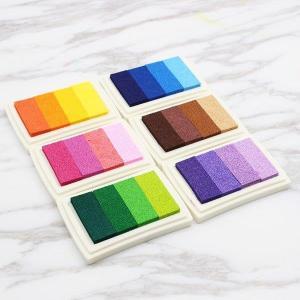 スタンプ台 油性 グラデーションカラー 6色 布用インク カラー コットン 木 紙用 インク スタン...