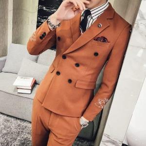 ダブルスーツメンズ2点セットスーツセットアップビジネススーツテーラードジャケットスリムカジュアル紳士...