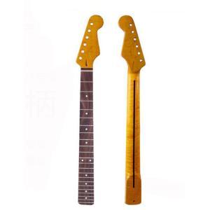 ギターネック STストラトタイプ交換用ネック ギターパーツ トラ杢メイプル トラ杢ネック ローズウッ...