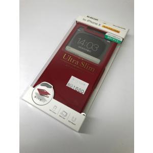 【新品】iPhoneX/ソフトレザーカバー/手帳型/薄型/窓付/磁石付/赤/レッド PM-A17XPLFWTRD|ecomoshinshimonoseki