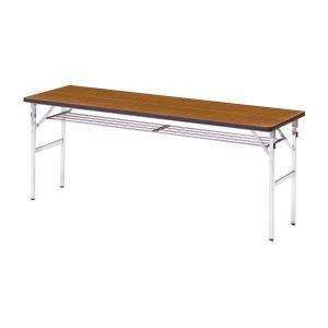 ミーティングテーブル 45M チーク 幅1800×奥行き450×高さ700mm 1-385-1047|economy