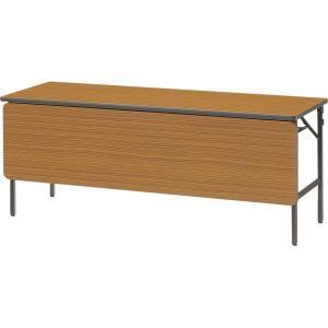 折畳みテーブル FP-60-T チーク 幕板付き 幅1800×奥行き600×高さ700mm 1-385-1107|economy
