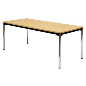 ミーティングテーブル・会議テーブル/ ATテーブル (幅1800×奥行き900mm・棚なし・スチールパイプメッキ脚) AT-1890SE-M3|economy