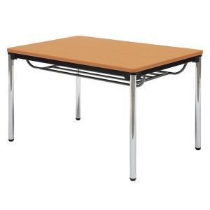 ミーティングテーブル・会議テーブル/ ATSテーブル (幅1200×奥行き750mm・棚付・スチールパイプメッキ脚) ATS-1275SE-M3|economy