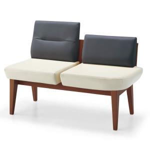コクヨ Refina(レフィナ) 木製ロビーチェア 2人掛け ミドルバック アームレスチェア 肘なし 左側サイドラウンドシート付… CN-1302HL|economy