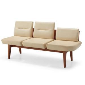 コクヨ Refina(レフィナ) 木製ロビーチェア 3人掛け ミドルバック アームレスチェア 肘なし 左側サイドラウンドシート付… CN-1303HL|economy