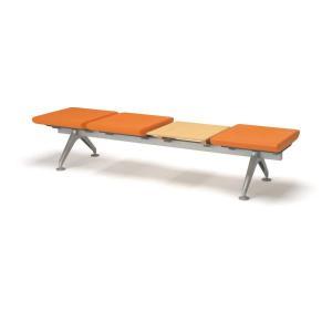 コクヨ ロビーチェアー4700シリーズ 4連テーブル付きベンチ CN-4704BT|economy