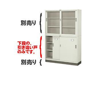 書庫キャビネット 引違い書庫 浅型 上置・下置両用 スチール戸 (18460) SS-503R|economy