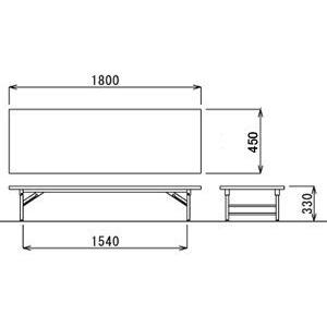 折り畳み机(座卓・ソフトエッジ・幅1800×奥行き450mm) TZ-1845SE-M7 economy 03