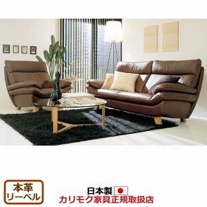 カリモク ソファセット/ ZT83モデル 本革張(外側:合成皮革)椅子2点セット(1人掛け・3人掛け)(COM オークD・… ZT8300DS-SET|economy
