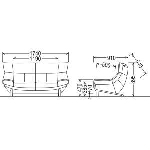 カリモク ソファ/ZU46モデル 本革張 2人掛椅子ロング 幅1740mm(ZU4612ZE)(COM オークD・G・S/リーベ… ZU4612-LB economy 04