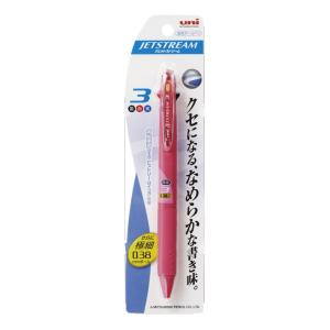 <三菱鉛筆> ジェットストリームボールペン 極細0.38mm 3色 ローズピンク(パック品) SXE3400381P66|econvecoco