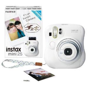 FUJIFILM<富士フイルム> インスタントカメラ チェキ ミニ 25 本体 接写レンズ付 instax mini 25 WT ホワイト INS MINI 25 WT|econvecoco