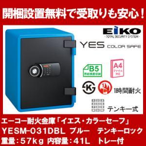 エーコー テンキー式小型耐火金庫 イエス・カラーセーフ 41L ブルー YES-031DBL|econvecoco