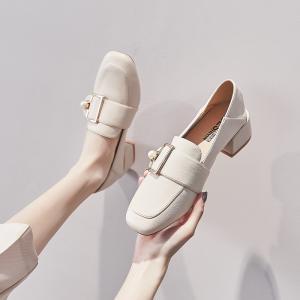 ローファー ハイヒール 4cm 靴 レディース スクエアトゥ パール付き 痛くない 履きやすい 春秋...