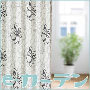 おしゃれなオーダーカーテン 100cm巾(1枚入り)高さは4種類 カリフォルニア ラインアート風トロピカル ブラック×グレー サービスサイズ ecurtain