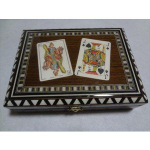 スペイン グラナダ製 タラセア 寄木細工 箱 トランプ カードケース 螺鈿細工 ジュエリーボックス TARACEA 伝統工芸品|ecwide