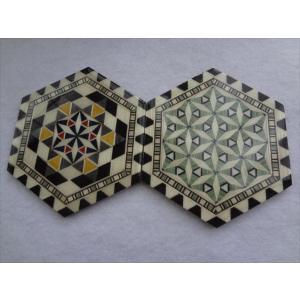 スペイン グラナダ製 タラセア 寄木細工 コースター TARACEA アルハンブラ宮殿 伝統工芸品 サイズ:約9.5cm*約11cm|ecwide