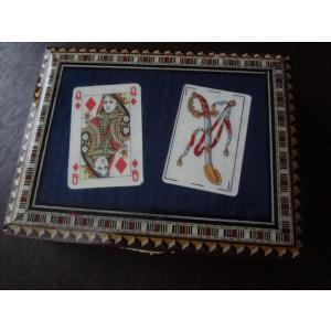 スペイン グラナダ製 タラセア 寄木細工 箱 トランプ カードケース 螺鈿細工 ジュエリーボックス TARACEA 伝統工芸品 ブルー系|ecwide