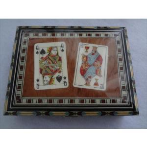 スペイン グラナダ製 タラセア 寄木細工 箱 トランプ カードケース 螺鈿細工 ジュエリーボックス TARACEA 伝統工芸品 2|ecwide