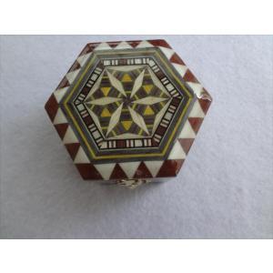 スペイン グラナダ製 タラセア 寄木細工 箱 ケース 螺鈿細工 ジュエリーボックス 六角形 TARACEA 伝統工芸品|ecwide
