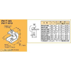 ネグロス電工 PH1T-W3 吊り金具 吊りボルト用支持金具 パイラック型【一般形鋼用】 【20個入】 PH1TW3 edenki