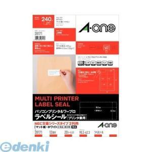 A-one エーワン 28171 パソコンプリンタ&ワープロラベルシール[プリンタ兼用] NEC文豪2列用 A4 12面 20シート入【L2D】|edenki