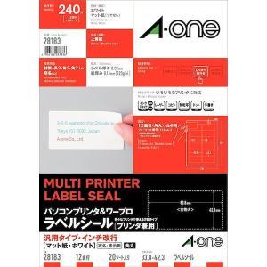 A-one エーワン 28183 パソコンプリンタ&ワープロラベルシール[プリンタ兼用] 汎用・インチ改行 12面 20シート入|edenki