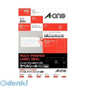 A-one エーワン 28187 パソコンプリンタ&ワープロラベルシール[プリンタ兼用] 汎用・ミリ改行 12面 20シート入|edenki