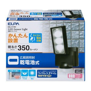 朝日電器 ELPA  ESL-311DC 乾電池式 センサーライト ESL311DC|edenki