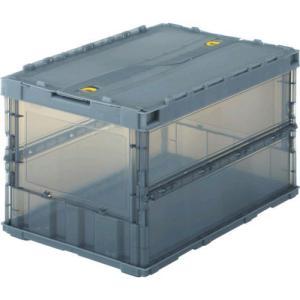 あすつく対応 TRUSCO TSK-C50B BK スケルコンオリコン50L ロック蓋付 透明 黒 TSKC50BBK 344-9432|edenki