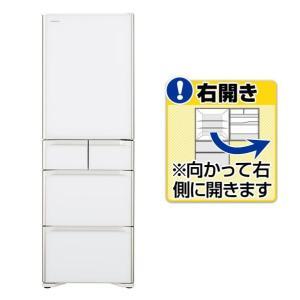 日立 【右開き】401L 5ドアノンフロン冷蔵庫 クリスタル...