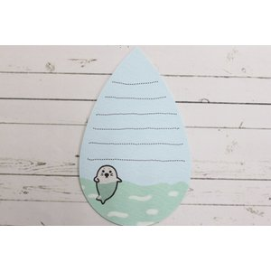 MGC01011 【Shinzi Katoh】ミニグリーティングカード MINIGREETINGCARD かわいい ギフト そらべあ くまの親子 アザラシ 海 点線あり(裏) 水色 涙型 sorabear|edogawa-zakkatown|04