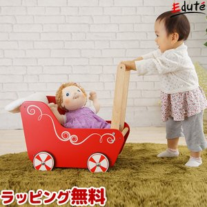 [アイムトイの木のおもちゃ] ドールワゴン 知育玩具 おままごと ごっこ遊び 幼児用 女 男 子供 人形 オモチャ 出産祝い ベビー 1歳 1才 2歳 2才 木製 edute