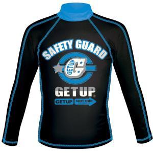 ゲットアップ ラッシュガード長袖 RUSH GUARD L/S BLACK×BLUE GCR-332XX ラッシュ&UVケア キッズ|ee-powers