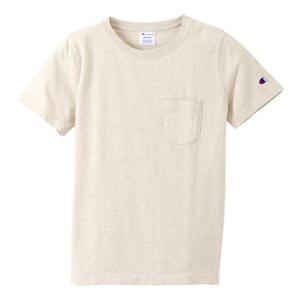 チャンピオン ウィメンズ ポケットTシャツ CW-M321 810(オートミール) レディース Champion POCKET T-SHIRT|ee-powers