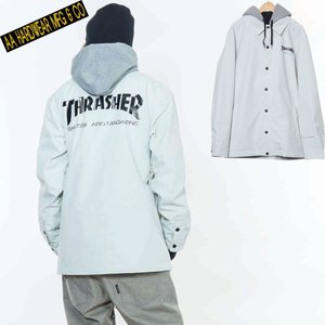 ダブルエー COACH JACKET 721-183-04 THRASHER WHITE スノーボード メンズ AA HARDWEAR|ee-powers