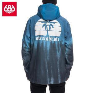 シックスエイトシックス ウォータープルーフ フーディー L8WCST13 Blue Steel Tie Dye スノーボード メンズ 686Waterproof Hoody|ee-powers