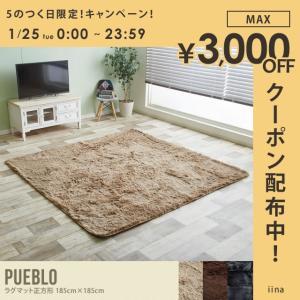 Pueblo ラグマット 185cm×185cm 正方形 こたつ 敷き布団 オシャレ センターラグ シンプル カジュアルの写真