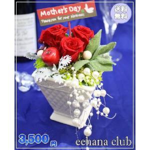 母の日 花 ギフト プリザーブドフラワー鮮やかレッド3,500円 送料無料|eehana