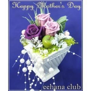 母の日 花 ギフト プリザーブドフラワーオシャレなパープル3,500円 送料無料|eehana
