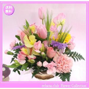 花 ギフト バースデー2月の誕生花チューリップナチュラルアレンジ3,500円 送料無料  花言葉付き チューリップ|eehana