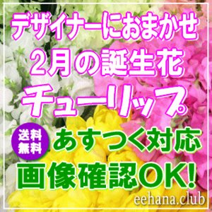 花 ギフト バースデー2月の誕生花チューリップデザイナーにおまかせフラワー7,000円 送料無料   あすつく対応  フラワーアレンジ・花束|eehana