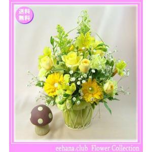 花 ギフト バースデー5月の誕生花 イエローアレンジ4,000円 送料無料  花言葉付き かすみ草|eehana