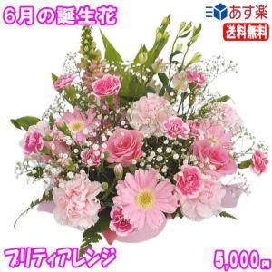 花 ギフト バースデー6月の誕生花 プリティアレンジ5,000円 送料無料  花言葉付き あすつく対応   バラ   写真付きメッセージ選択可|eehana