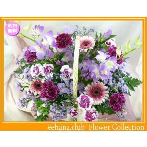 花 ギフト バースデー10月の誕生花 パープルアレンジ6,000円 送料無料  花言葉付き ガーベラ   写真付きメッセージ選択可|eehana