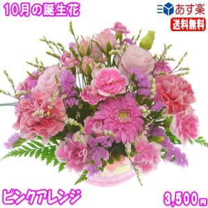 花 ギフト バースデー10月の誕生花 ピンクアレンジ3,500円 送料無料  花言葉付き ガーベラ   写真付きメッセージ選択可|eehana