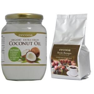 エクーア バラココーヒー 200g  豆 エキストラバージンココナッツオイル 500ml セット|eei7