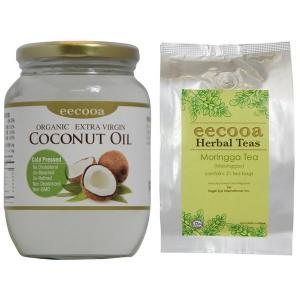 エクーア モリンガ茶 21包 エキストラバージンココナッツオイル 500ml セット|eei7