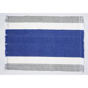 フィリピン 工芸品 Ilocos 地方伝統 手織り ランチョンマット 2枚組 ブルー|eei7
